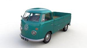 3D model volkswagen transporter pickup single