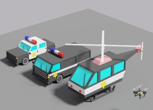 3D police vehicles car van model
