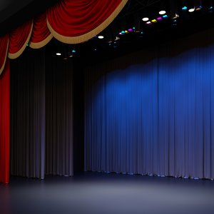 3D curtain stage theatre