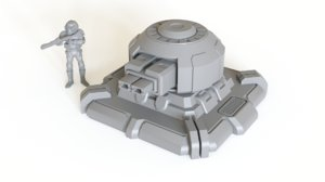 3D turret tabletop scenery