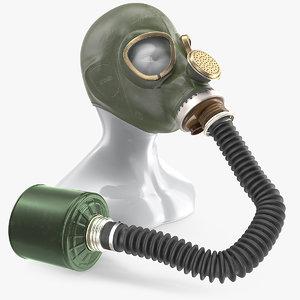 green gas mask long 3D