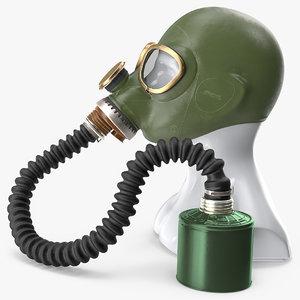 green gas mask long 3D model