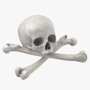 3D pirate skull bones compostion