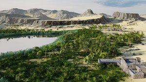 3D oasis desert sand model