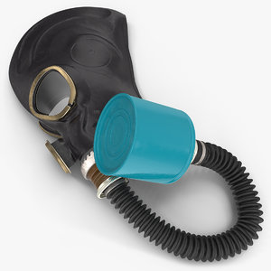 3D black rubber gas mask model