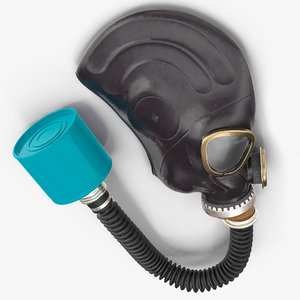 black rubber gas mask 3D model