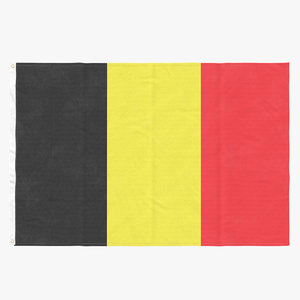 3D model flag laying pose belgium