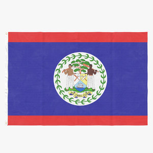 flag laying pose belize 3D model