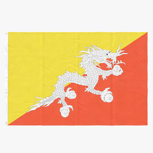 3D model flag laying pose bhutan