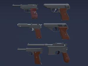 automatic pistols 3D model