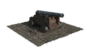 18th century naval canon 3D model