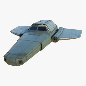 3D concept space fighter 001 model