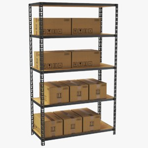 3D real warehouse rack cardboard box