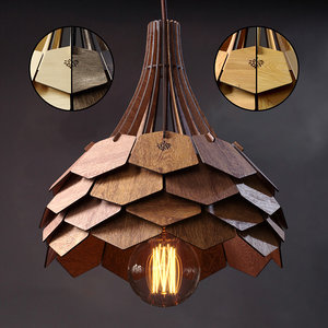 wood birch wooden lamp 3D model