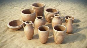 handmade clay pots model