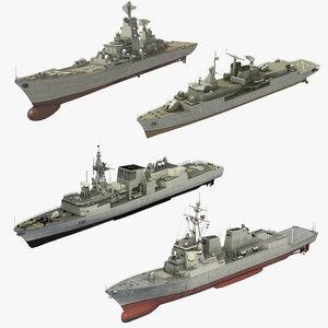 3D warships class destroyer cruiser