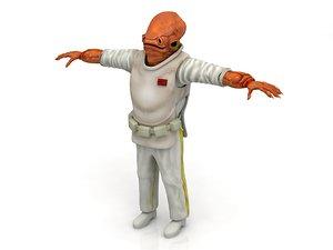 x-wing battle droid ackbar 3D model