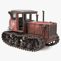 Old Rusty Soviet Crawler Tractor DT54 Rigged