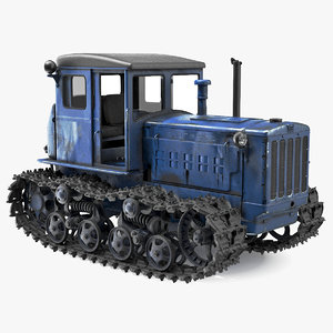 rusty diesel tractor rigged 3D