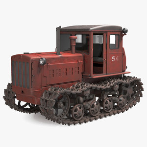 3D old soviet crawler tractor model