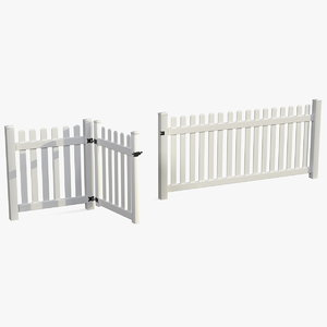 3D white picked fence section