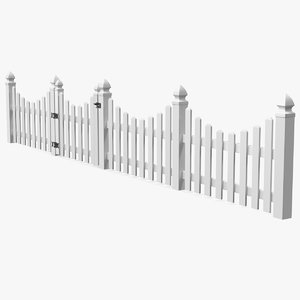 white scalloped fence section 3D model