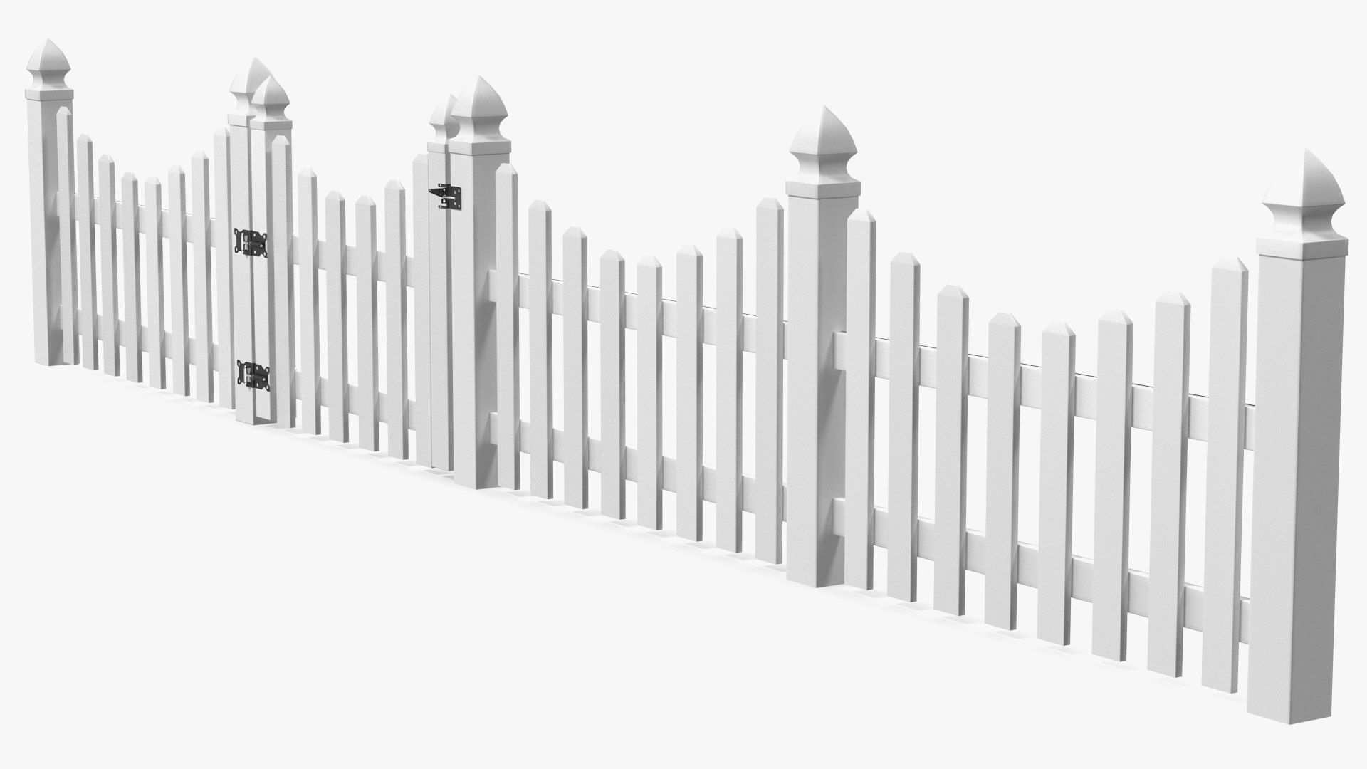 White scalloped fence section 3D model - TurboSquid 1575163