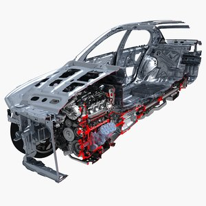 car frame chassis cutaway 3D