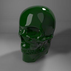 3D dark green glass skull