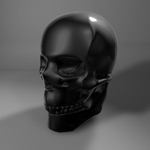 dark toned glass skull 3D