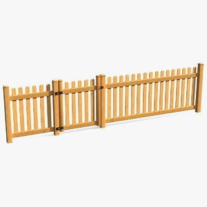 3D wooden picked fence section