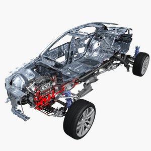 3D car frame engine cutaway