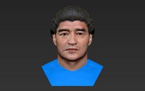 diego maradona bust color 3D