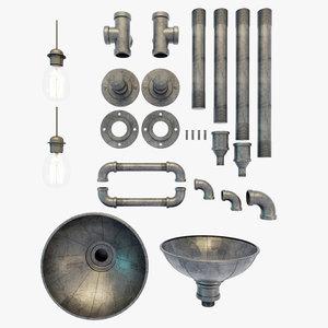 3D model metal pipes