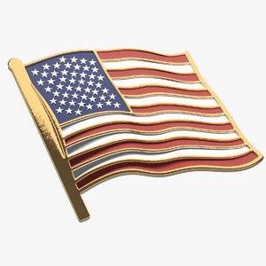 3D model american flag pin