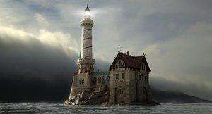 old lighthouse rocks house 3D