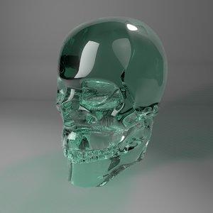 3D green filter glass skull model