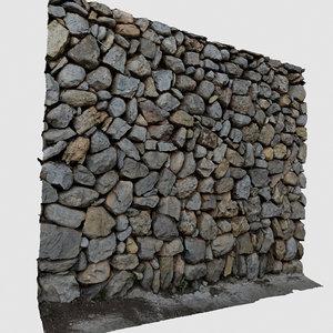 3D model scan pebbles wall