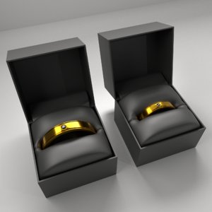 3D couple gold ring diamond