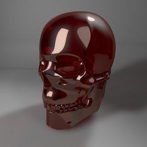 3D red glass skull l769 model