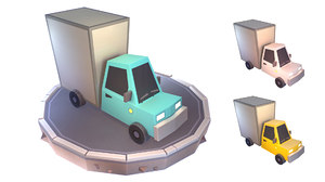 3D delivery truck cartoon isometry