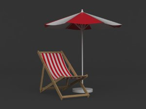 beach umbrella chair 3D model