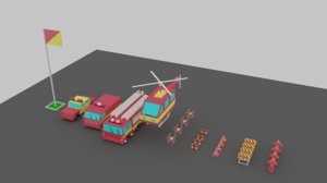 3D vehicles car van helicopter model