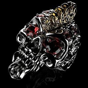 3D badass gothic punk skull