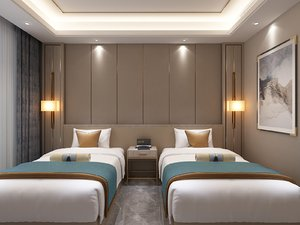 bedrooms twin single beds 3D