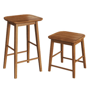 wooden stools zara home 3D model