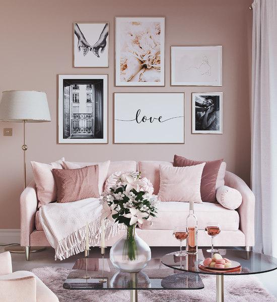 Escandinavo Realista Pink Love Design, Pink Living Room