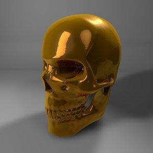 3D model gold skull l774