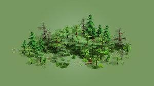 3D cartoon trees pack