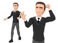Low-Poly Business elegant man 3D rigged model
